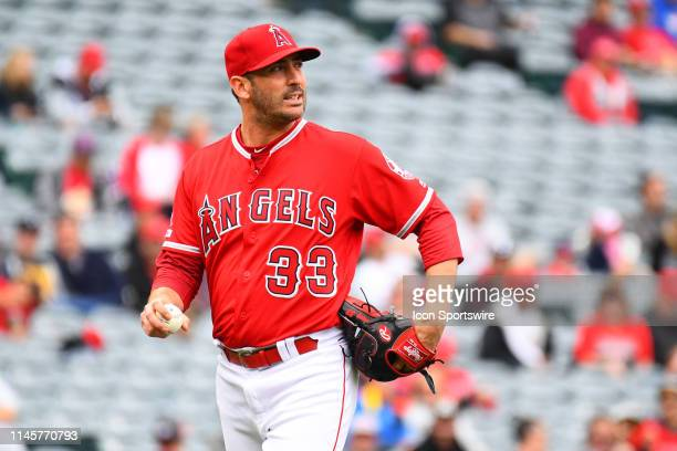 Los Angeles Angels pitcher Matt Harvey looks on after giving up a home run during a MLB game between the Minnesota Twins and the Los Angeles Angels...