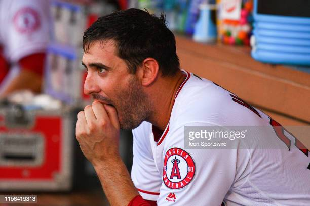 Los Angeles Angels pitcher Matt Harvey looks on from the dugout during a MLB game between the Houston Astros and the Los Angeles Angels of Anaheim on...