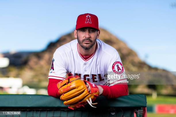 Los Angeles Angels pitcher Matt Harvey poses for a portrait during the Los Angeles Angels photo day on Tuesday Feb 19 2019 at Tempe Diablo Stadium in...