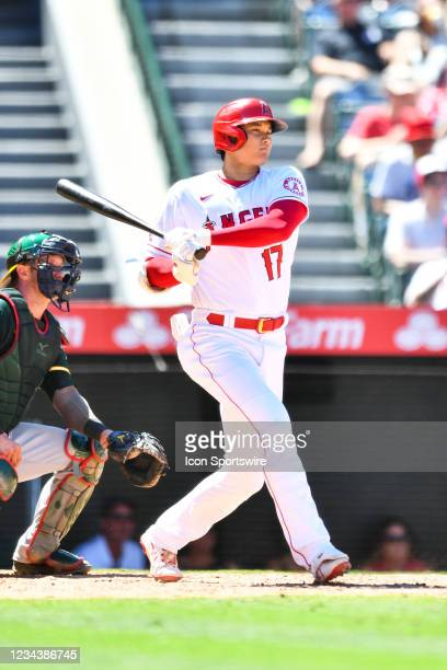 Los Angeles Angels pitcher Shohei Ohtani grounds out during a MLB game between the Oakland Athletics and the Los Angeles Angels of Anaheim on August...