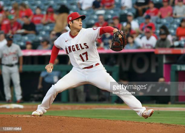 Los Angeles Angels pitcher Shohei Ohtani pitching during a game against the Detroit Tigers played on June 17, 2021 at Angel Stadium in Anaheim, CA.