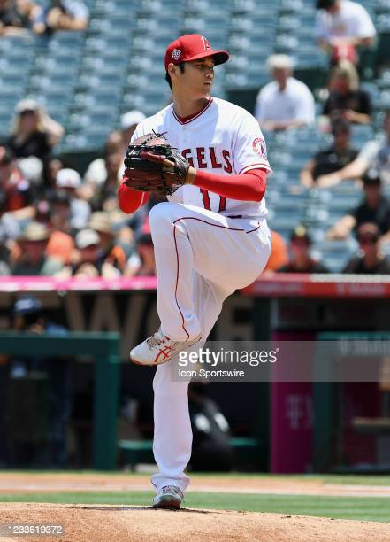Los Angeles Angels pitcher Shohei Ohtani pitching during a game against the San Francisco Giants played on June 23, 2021 at Angel Stadium in Anaheim,...