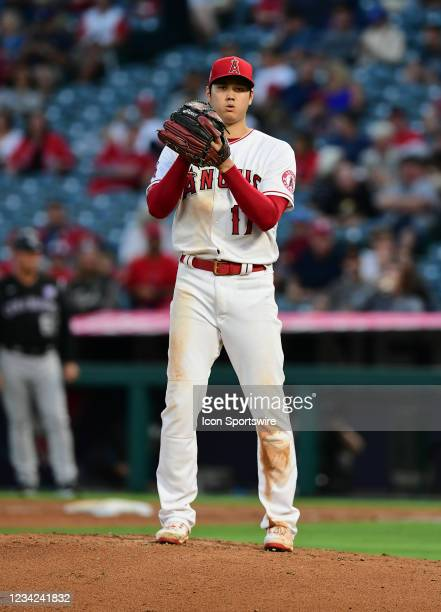 Los Angeles Angels pitcher Shohei Ohtani pitching during a game against the Colorado Rockies played on July 26, 2021 at Angel Stadium in Anaheim, CA.