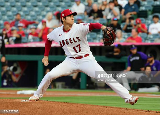 Los Angeles Angels pitcher Shohei Ohtani pitching during the first inning of a game against the Colorado Rockies played on July 26, 2021 at Angel...