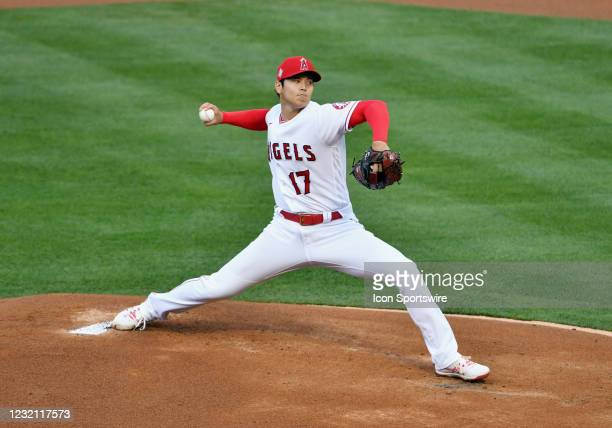 Los Angeles Angels pitcher Shohei Ohtani pitching in the first inning of a game against the Chicago White Sox played on April 4, 2021 at Angel...