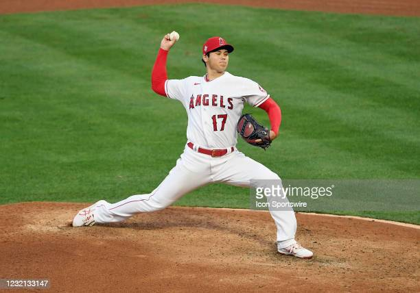 Los Angeles Angels pitcher Shohei Ohtani pitching in the fourth inning of a game against the Chicago White Sox played on April 4, 2021 at Angel...