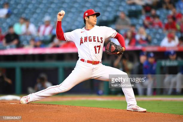 Los Angeles Angels pitcher Shohei Ohtani throws a pitch during a MLB game between the Texas Rangers and the Los Angeles Angels of Anaheim on...