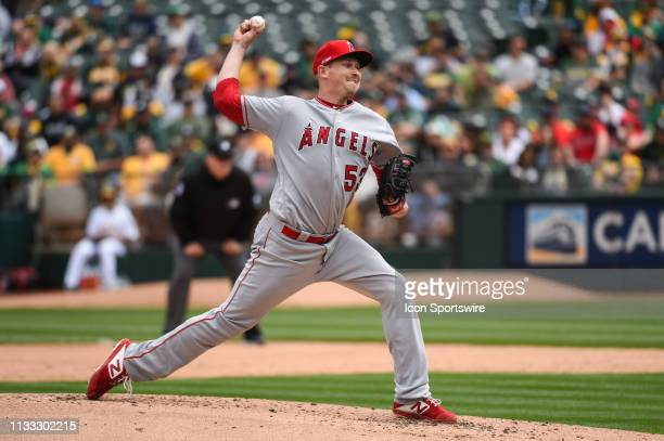 Los Angeles Angels Pitcher Trevor Cahill during the Major League Baseball game between the Los Angeles Angels and the Oakland Athletics at Oco...