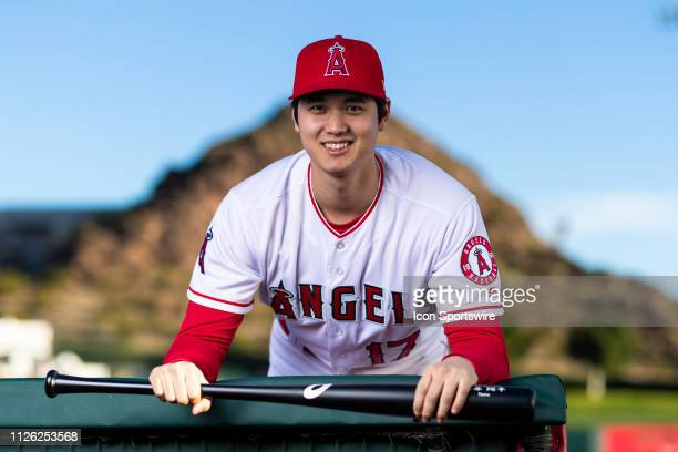 Los Angeles Angels pitcher/designated hitter Shohei Ohtani poses for a portrait during the Los Angeles Angels photo day on Tuesday Feb 19 2019 at...