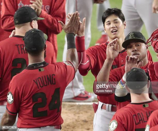 Los Angeles Angels players including Shohei Ohtani and Chris Young high five after beating the New York Yankees 114 at Yankee Stadium in New York on...