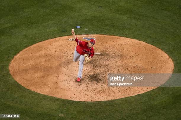 Los Angeles Angels relief pitcher Andrew Bailey pitches in the sixth inning during the game between the Los Angeles Angels and the Los Angeles...