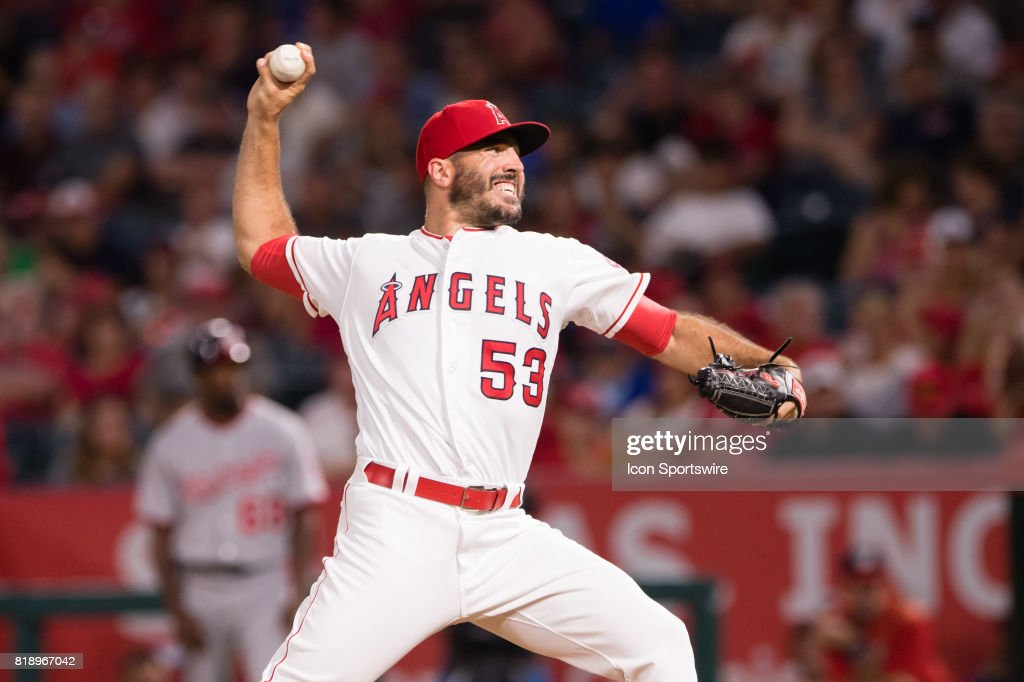 Los Angeles Angels relief pitcher Blake Parker (53) comes in to pitch in the seventh inning during the game between the Washington Nationals and the Los Angeles Angels on July 18, 2017, at Angel Stadium of Anaheim in Anaheim, CA.