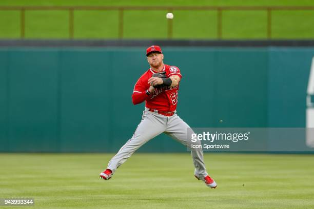 Los Angeles Angels Right field Kole Calhoun makes a play on a shallow fly ball and tries to pick off the runner on 1st during the game between the...