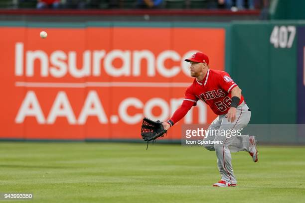 Los Angeles Angels Right field Kole Calhoun makes a play on a shallow fly ball during the game between the Los Angeles Angels and Texas Rangers on...