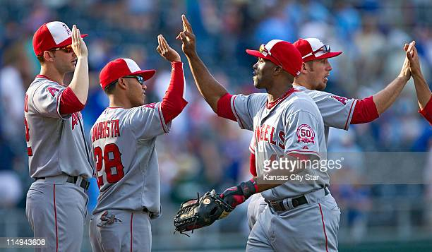 Los Angeles Angels right fielder Torii Hunter celebrates with teammates after a 108 win over the Kansas City Royals at Kauffman Stadium in Kansas...