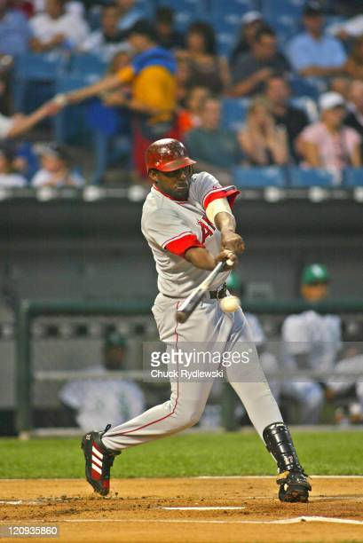 Los Angeles Angels' Right Fielder Vladimir Guerrero singles in a run during the game against the Chicago White Sox September 9 2005 at US Cellular...