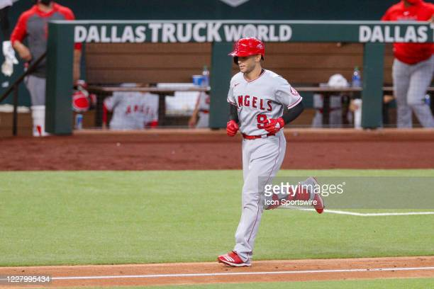 Los Angeles Angels second baseman Tommy La Stella rounds the bases after hitting a 2-run home run during the MLB game between the Los Angeles Angels...