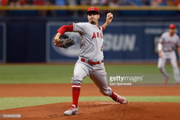 Los Angeles Angels starting pitcher Andrew Heaney delivers a pitchduring the regular season MLB game between the Los Angeles Angels and Tampa Bay...