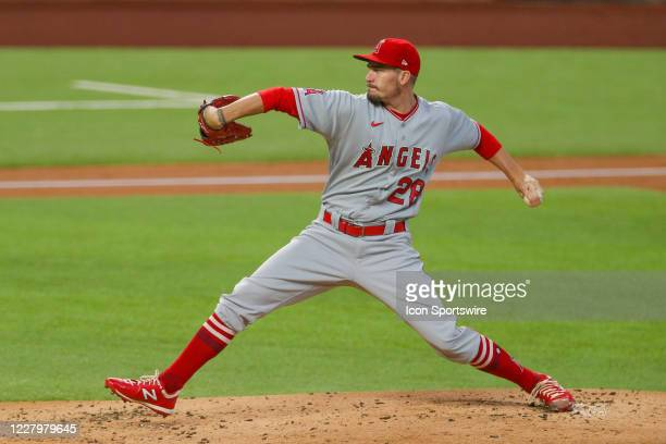 Los Angeles Angels starting pitcher Andrew Heaney throws during the first inning of the MLB game between the Los Angeles Angels and Texas Rangers on...