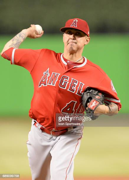 Los Angeles Angels starting pitcher Jesse Chavez throws a pitch during the first inning in a game between the Miami Marlins and the Los Angeles...