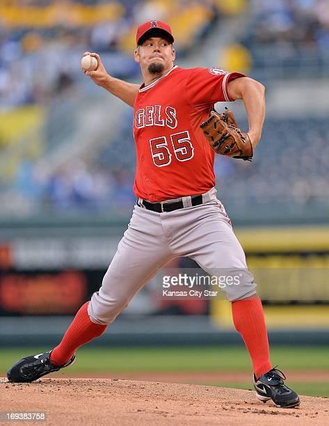 Los Angeles Angels starting pitcher Joe Blanton against the Kansas City Royals on Thursday May 23 at Kauffman Stadium in Kansas City Missouri