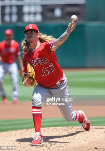 Los Angeles Angels starting pitcher John Lamb pitches in the first inning during the regular season game between the Oakland Athletics and the Los...