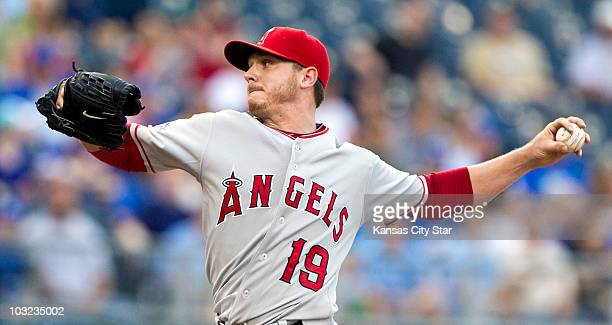 Los Angeles Angels starting pitcher Scott Kazmir throws in the first inning against the Kansas City Royals at Kauffman Stadium in Kansas City...