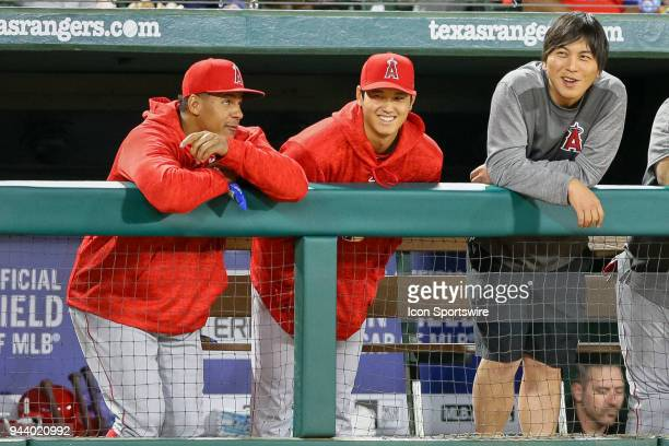 Los Angeles Angels Starting pitcher Shohei Ohtani looks on from the dugout during the game between the Los Angeles Angels and Texas Rangers on April...