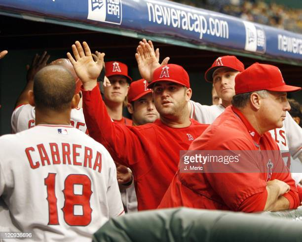 Los Angeles Angels teammates congratulate Orlando Cabrera after he scored a run in the second inning of Wednesday's game against Tampa Bay at...