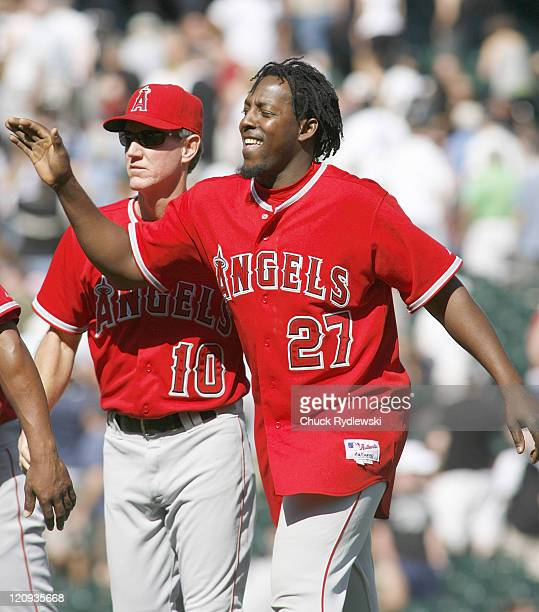 Los Angeles Angels' Vladimir Guerrero and his teammates celebrate their victory over the Chicago White Sox April 29 2007 at US Cellular Field in...