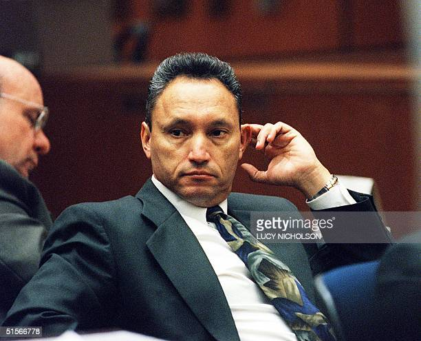 Los Angeles antigang police officer Sargeant Edward Ortiz from the Los Angeles Police Department's Rampart Division appears in court 16 October 2000...