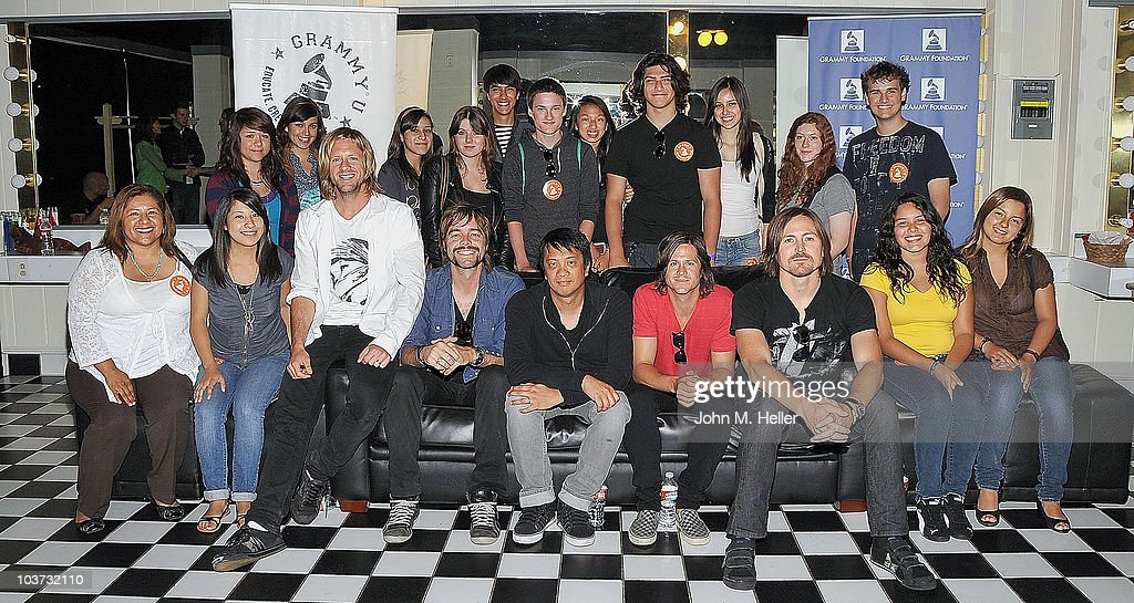 Los Angeles area high school and college students attend the Grammy Foundation's sound check and a Q and A with Switchfoot, Front Row 3rd from left (L-R) Lead Vocals and Guitar Jon Foreman, Guitar Andrew Shirley, Keyboards and backup Guitar Jerome Fontamillas , Bass Guitar Tim Foreman and Drums Chad Butler at the Greek Theater on August 29, 2010 in Los Angeles, California.