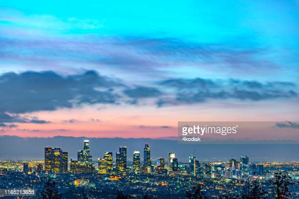 los angeles at dawn - san gabriel mountains stock pictures, royalty-free photos & images