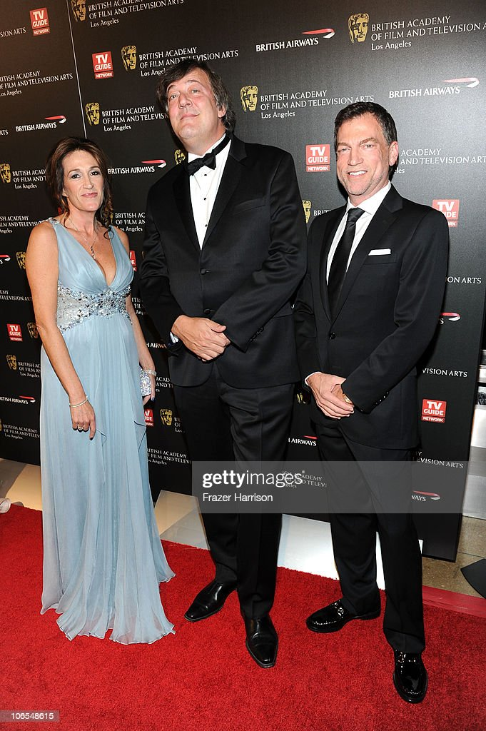 Los Angeles Board Member and Event Chair Melanie Greene , host Stephen Fry, and BAFTA Los Angeles Board Member and Event Chair Paul Steinke arrive at the BAFTA Los Angeles 2010 Britannia Awards held at the Hyatt Regency Century Plaza on November 4, 2010 in Century City, California. The BAFTA Los Angeles 2010 Brittania Awards will be aired on the TV Guide Channel on November 7th, 2010.