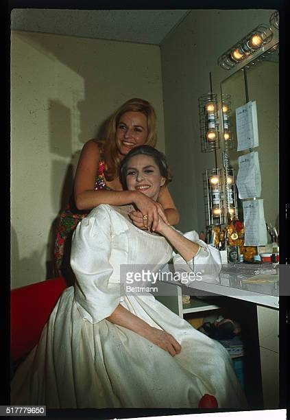 Los Angeles, CA: Actres Ingrid Bergman with her daughter Pia Lindstrom, September 12th, in dressing room at the Ahmanson Theater of Los Angeles Music...