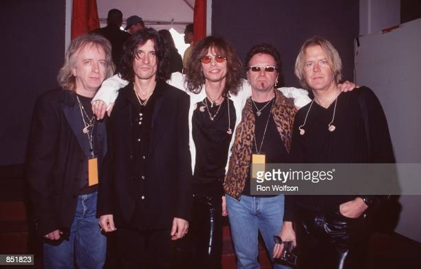 Los Angeles CA Aerosmith backstage at the 41st Annual Grammy Awards