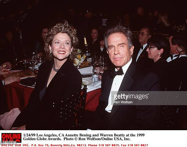 Los Angeles CA Annette Bening and Warren Beatty at the 1999 Golden Globe Awards