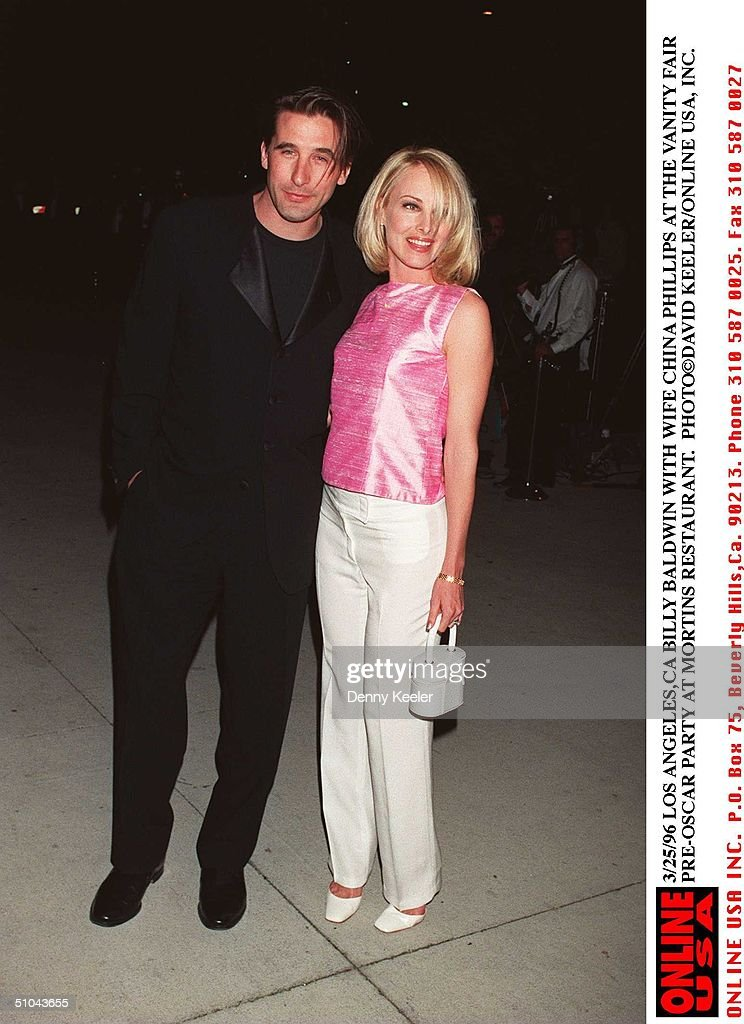 Billy Baldwin With Wife China Phillips At The Vanity Fair Pre Oscar Party At : News Photo