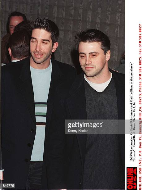 Los Angeles Ca David Schwimmer and Matt Le Blanc at the premiere of 'Sream'
