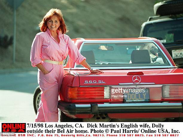 Los Angeles CA Dick Martin's English wife Dolly outside their Bel Air home