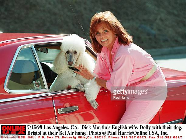 Los Angeles Ca Dick Martin's English Wife Dolly With Their Dog Bristol At Their Bel Air Home