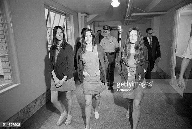 8/7/1970 Los Angeles CA Female defendants The three female defendants in the TateLaBianca murder trial walk from the jail section to the courtroom as...