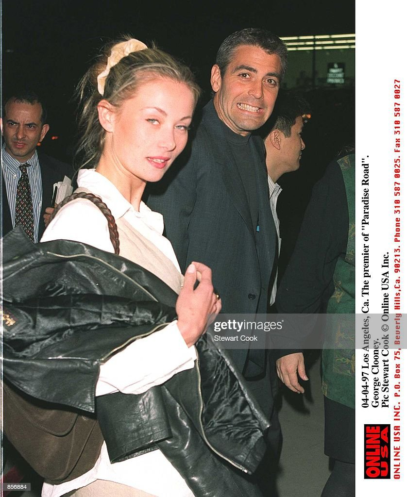 "4/4/97 Los Angeles, CA. George Clooney with his girlfriend, Celine Balitran at the premiere of ""Para : News Photo"