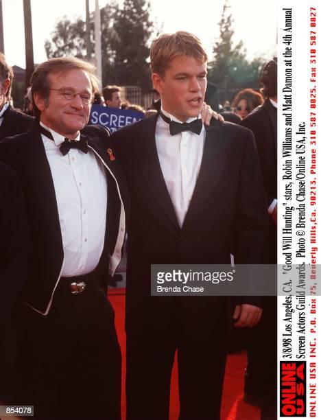 "Los Angeles, CA. ""Good Will Hunting"" stars, Robin Williams and Matt Damon at the 4th Annual Screen Actors Guild Awards."