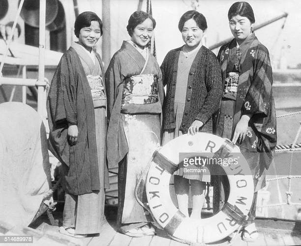 2/2/1931 Los Angeles CA Japanese picture brides in a row These four girls are about to board the Japanese liner Rakuyo Maru to join neverseenbefore...