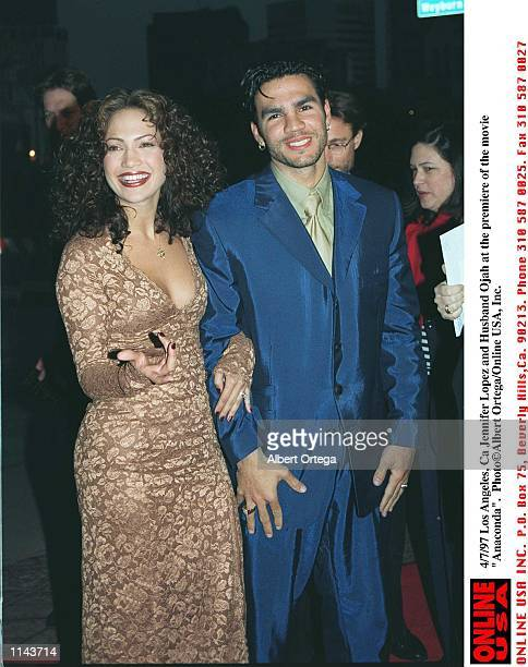 Los Angeles CA Jennifer Lopez and husband Ojani Noa at the premiere of the new movie 'Anaconda'