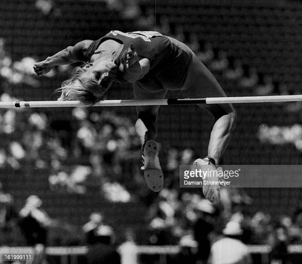 71984 Los Angeles CA June 16Special Transmission to the Denver Post Marlene Harmon strains to clear the bar in the Women's Heptathlon High Jump...