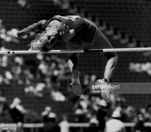 Los Angeles CA June 16Special Transmission to the Denver Post Marlene Harmon strains to clear the bar in the Women's Heptathlon High Jump Harmon was...