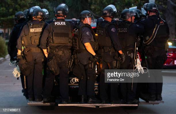Los Angeles, CA JUNE 2, 2020: LAPD arrive to arrests protestors for curfew vilotation after a day of peaceful protest against police brutality and to...