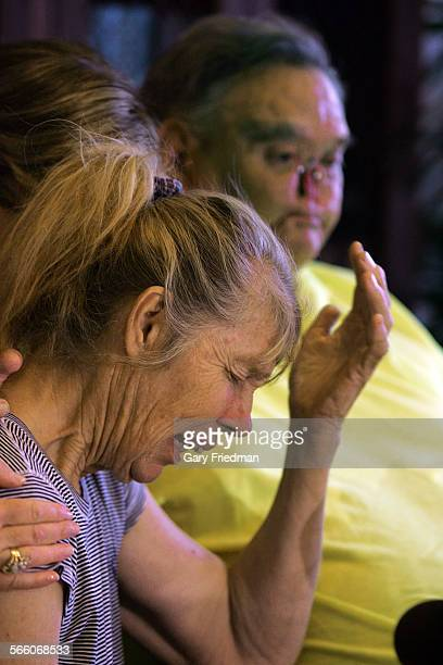 Los Angeles, Ca. LaDonna breaks down as she and her husband, St. James Davis speaks to the press in the law offices of Gloria Allred on June 30,...